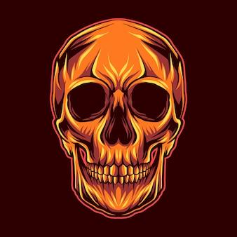 Skull head on red dark background close mouth  illustration artwork