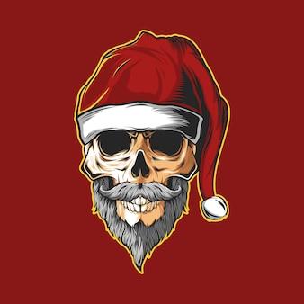 Череп голова санта шляпа рождество