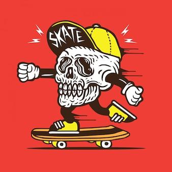 Skull head skater skateboard character
