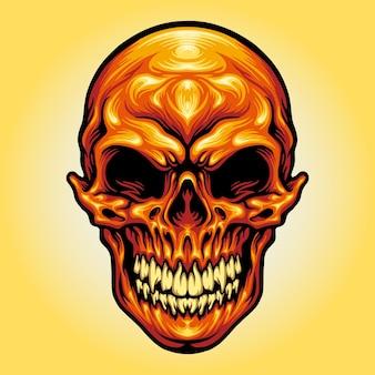 あなたの仕事のロゴ、マスコット商品のtシャツ、ステッカーとラベルのデザイン、ポスター、企業やブランドを宣伝するグリーティングカードの頭蓋骨の頭のスケルトンベクトルイラスト。