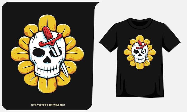 Череп головы мечи на иллюстрации подсолнечника и дизайн футболки