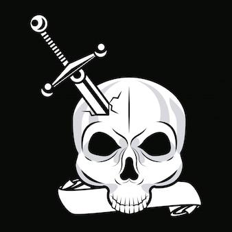 剣のグラフィックと頭蓋骨の頭のタトゥー