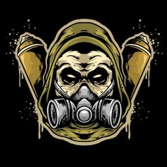 Skull head wear hoodie and graffiti with caps logo design mascot
