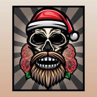 クリスマスの帽子をかぶった頭蓋骨の頭。