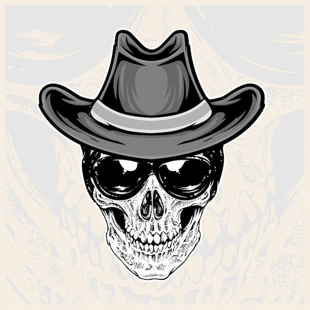 Skull head wearing glasses and cowboy hats
