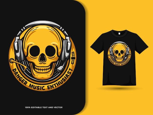 티셔츠 디자인에 헤드셋 배지 로고를 착용한 해골 머리