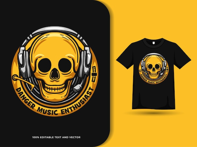 Skull head wearing headset badge logo on tshirt design