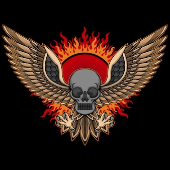 Skull head and wings tattoo