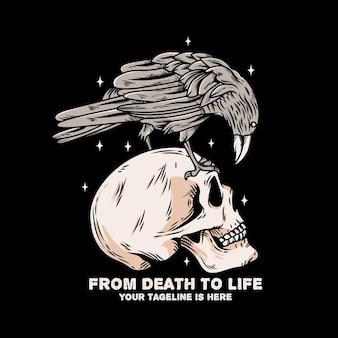 彼の頭にカラスの鳥と頭蓋骨の頭