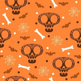 박쥐 할로윈 패턴 일러스트와 함께 해골 머리
