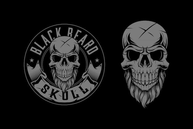 Skull head with beard badge