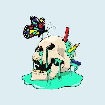 Голова черепа с бабочкой и цветными карандашами