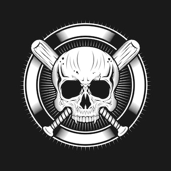 Skull head with circle and baseball bats realistic illustration design