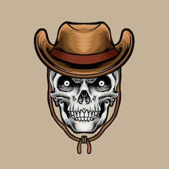 Голова черепа в ковбойской шляпе