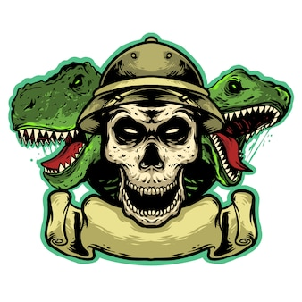 Skull head with dinosaur and banner logo mascot design