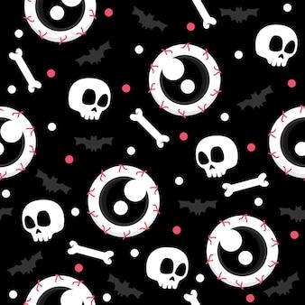 Череп головы с глазами хэллоуин шаблон иллюстрации