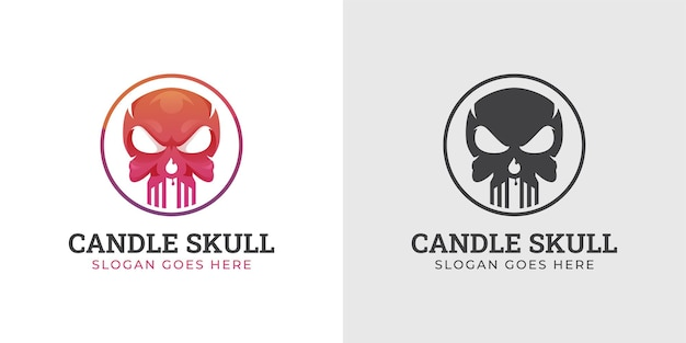 Skull head with fiery candle logo