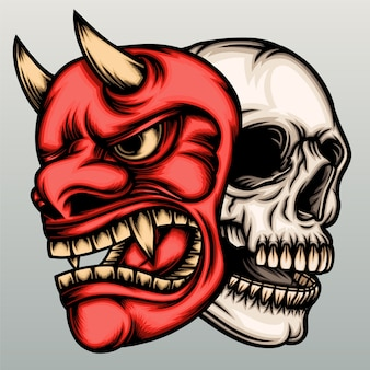 Skull head with hannya mask in hand drawn