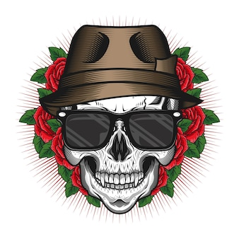 Skull head with hat and rose detailed vector design concept