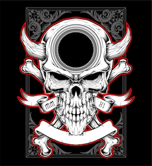 Skull head with horn hand drawing vector