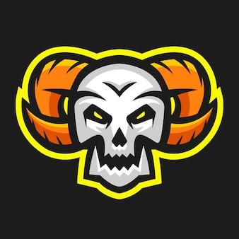 Skull head with horn illustration