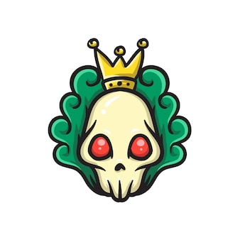 Skull head with king crown
