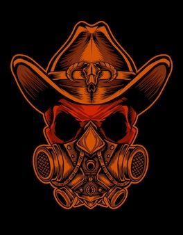 Skull head with masker and cowboy hat