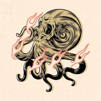 Голова черепа с рукой осьминога для дизайна футболки или товаров
