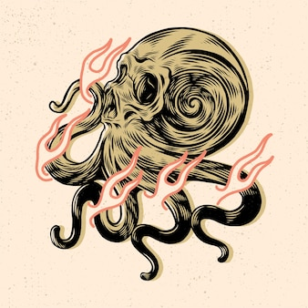 Skull head with octopus hand for tshirt design or merchandise