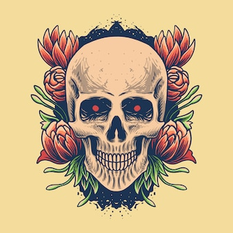 Skull head with rose illustration