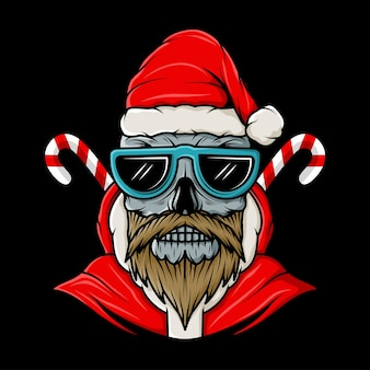 Skull head with santa claus christmas hat illustration