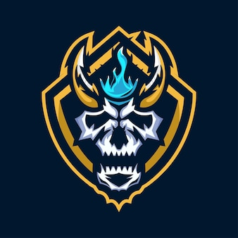 Skull head with shield mascot logo design