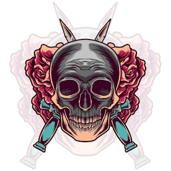 Skull head with sword and rose Premium Vector