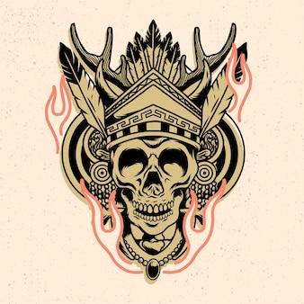 Голова черепа с древним стилем для дизайна футболки или товаров