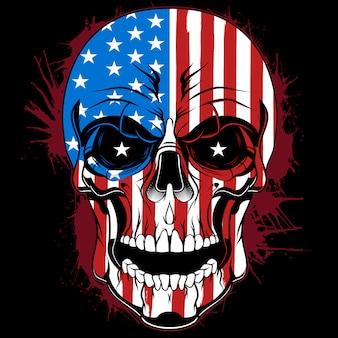 미국 국기의 색깔을 가진 두개골 머리