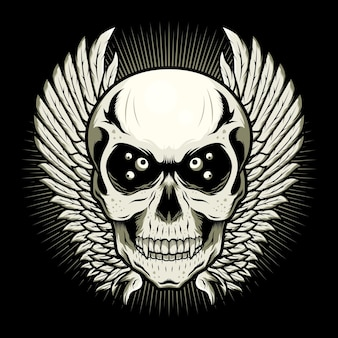 Skull head with wings detailed vector design illustration concept