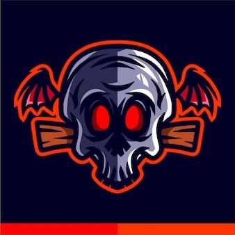 Skull head with wings illustration