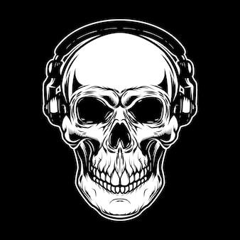Skull in headphones on dark background. design element for poster, card, emblem, sign.