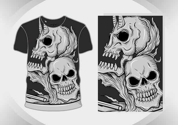 Skull heads, macabre illustration for t-shirt design