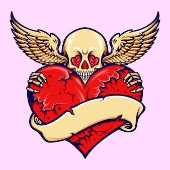 Skull heart cracked love