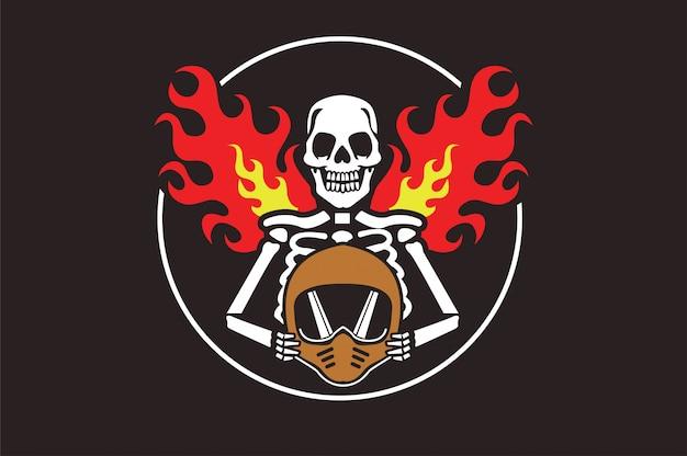 Skull helm biker and motosport