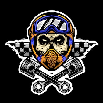 Skull helm and google with piston logo