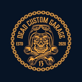 Череп шлем цепь байкер гараж мотоцикл значок логотип