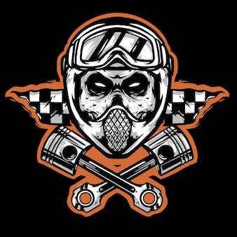 Skull helmet google with piston white logo mascot