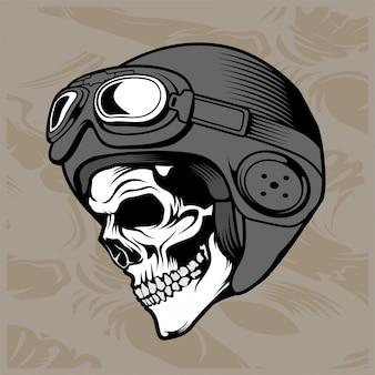 Skull helmet hand drawing