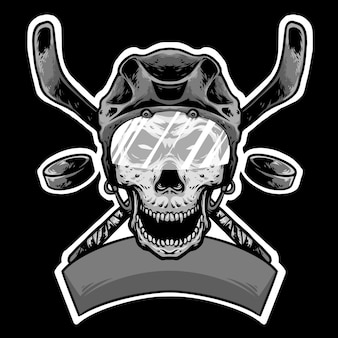 Skull helmet head hokey with stick and banner logo design mascot