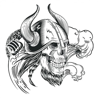 Skull in the helmet of the viking in the style of engraving. tattoo sketch.