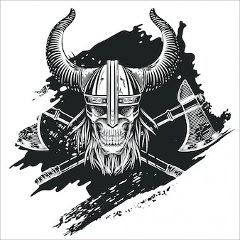 Skull in the helmet of the viking in the style of engraving