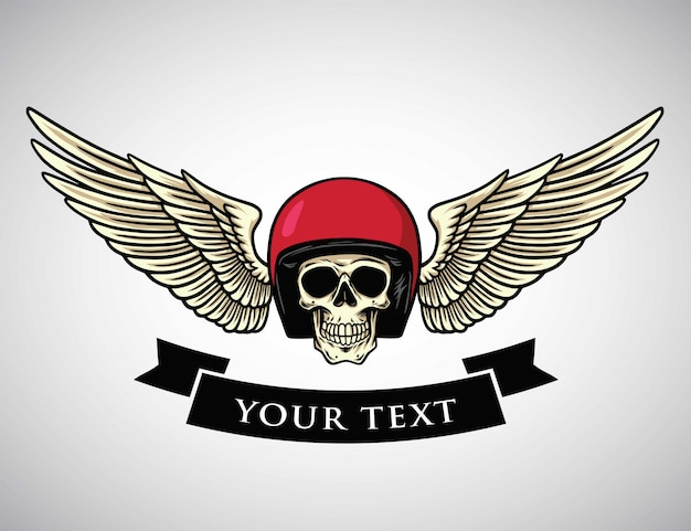 Skull helmet wings logo