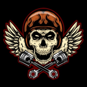 Skull helmet with wings logo  mascot